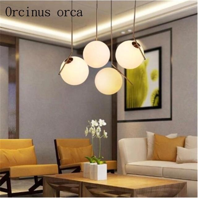 US $76.5 10% di SCONTO|Stile moderno sala da pranzo lampadario Nordic  minimalista camera da letto singola testa di vetro Lampadario decorativo in  ...