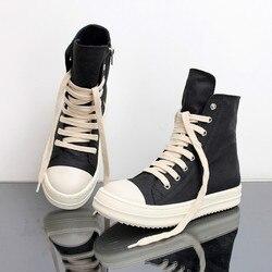 Rua hip hop tênis dança sapatos de rocha casuais cera couro lona ankle boots clássico rendas até sapatos de alta superior masculino tênis