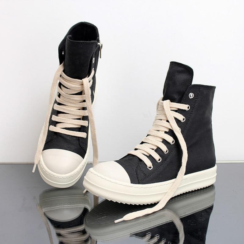 Ayakk.'ten Motosiklet çizmeleri'de Sokak Hip Hop sneakers dans Casual Rock ayakkabı Balmumu Deri Tuval yarım çizmeler Klasik Lace Up yüksek top ayakkabı erkekler sneakers'da  Grup 1