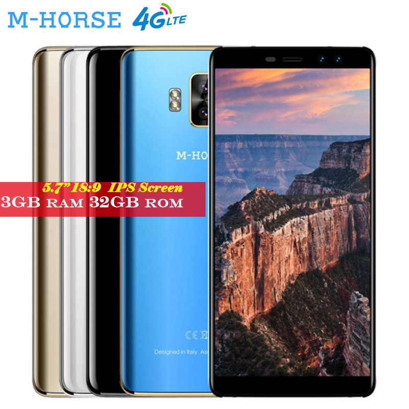 M-HORSE Pure 1 Smartphone Android 7.0 3GB RAM 32GB ROM MTK6737 Quad Core 8MP Dual Rear Cameras 5.7''IPS 18:9 4G Mobile Cellphone