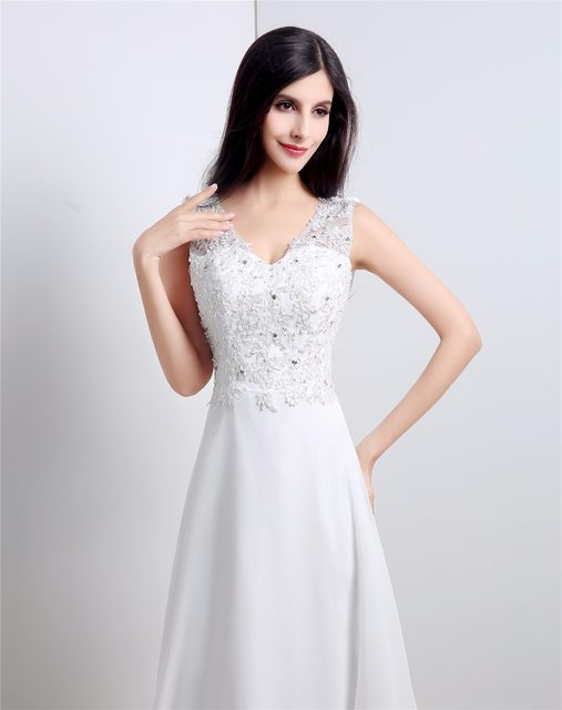 Online Shop Elegant Simple Beach Wedding Dress Casual V Neck Chiffon ...