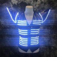 RE27 Party singer stage wears led vest dj luminous led costumes robot men suit bar RGB colorful light armor clothe disco dresses