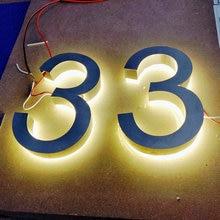 Пользовательские открытый нержавеющей стали со светодиодной подсветкой номер дома буквы