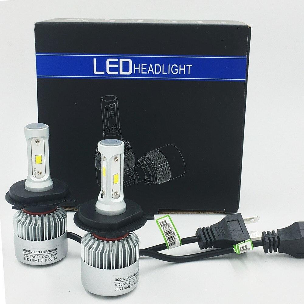 S2 лампы H1 H3 H4 H7 H8 H9 H11 9005 9006 881 880 автомобилей фары авто светодиодный лампы фары автомобиля 12 В 72 Вт 8000LM туман лампы 2 шт./лот ...