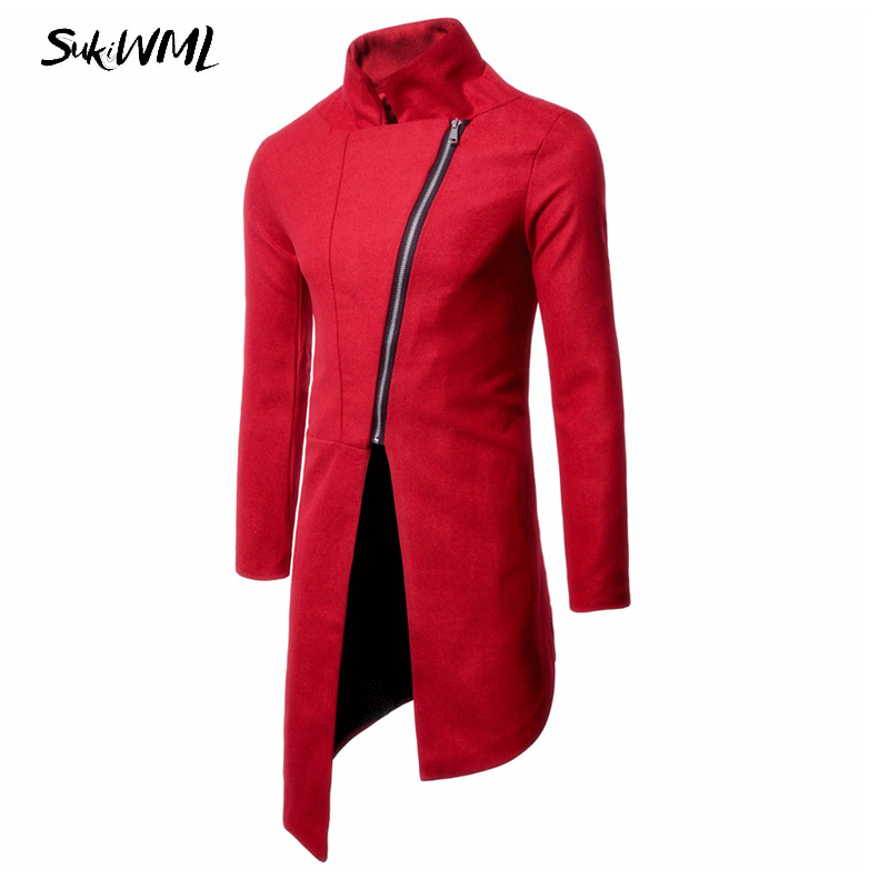 SUKIWML 2017 New Brand Men Long Coats Solid Color   Trench   Uomo Slim Fit Men's   Trench   Coat Zipper Style Heren Lange Jassen M-3XL