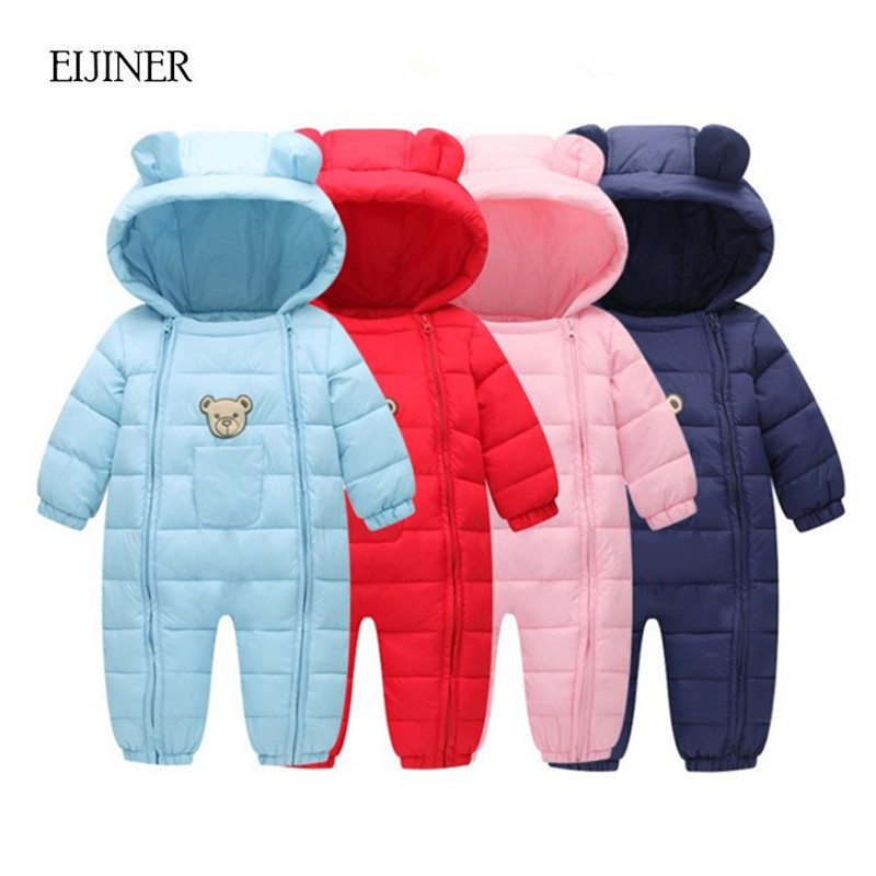 Baby Rompers Winter Thick Warm Baby boy Clothing Long Sleeve Hooded Jumpsuit Kid Newborn Outwear Children Warm Snowsuit Jumpsuit winter baby rompers organic cotton baby hooded snowsuit jumpsuit long sleeve thick warm baby girls boy romper newborn clothing