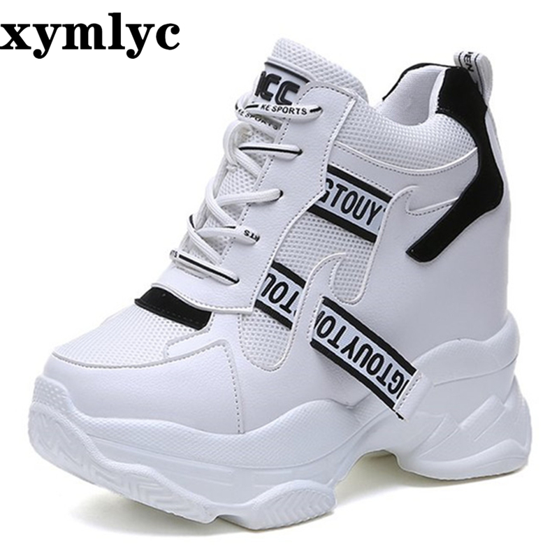 2019 spring autumn fashion platform shoes with buckle casual sweet sports shoes shallow mouth Femmes Height Increase Shoes White(China)