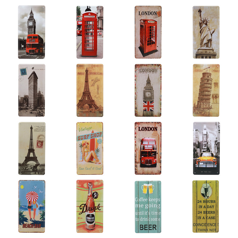 London Telephone Box Paris Vintage Home Decor Plaques Signs Decoration For Garage Cafe Wall Metal Tin Sign Plate 15X30CM C23