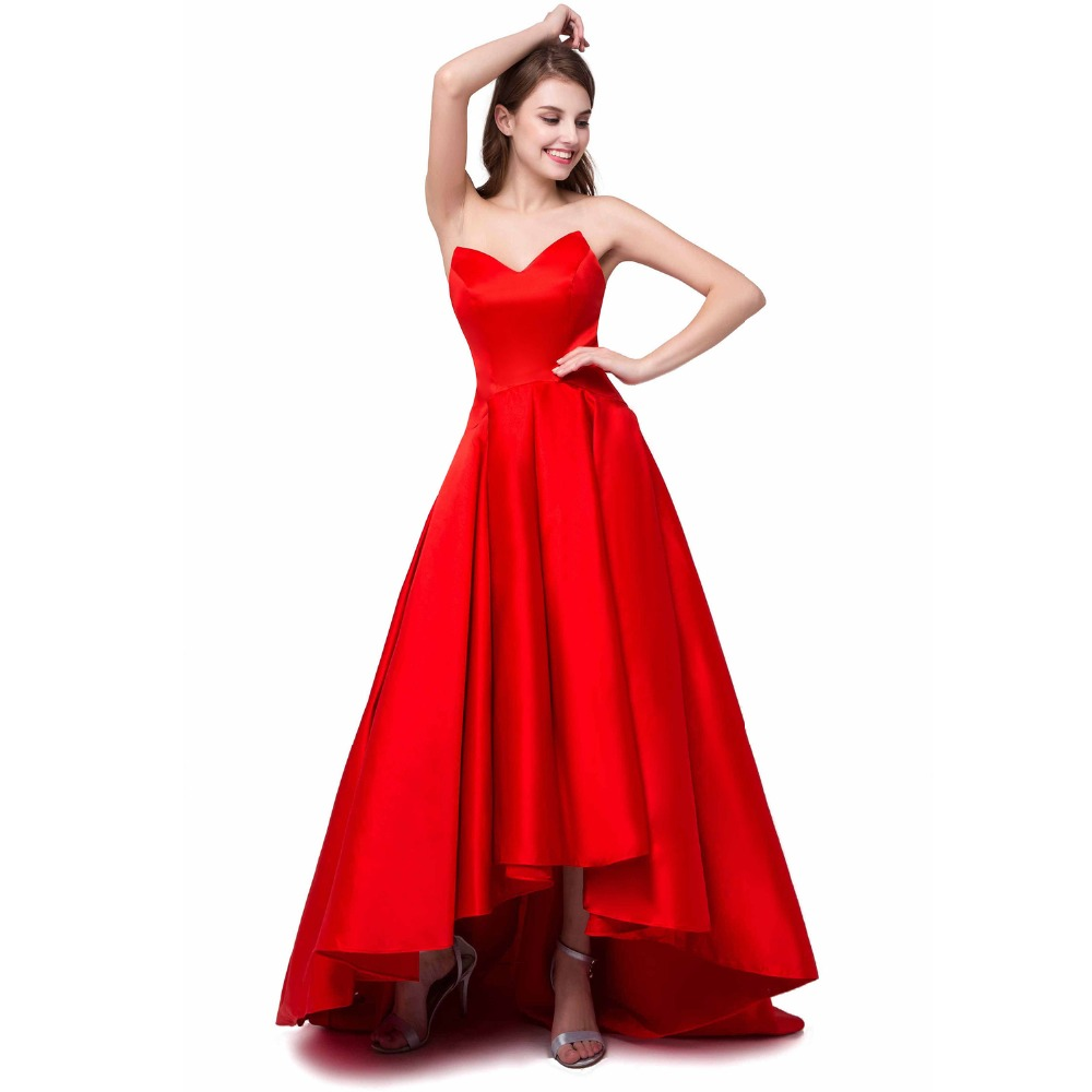 Online get cheap red prom dress size 12 aliexpress alibaba elegant high low red bridesmaid dresses satin v neck party gowns cheap wedding prom dresses stock size 6 8 10 12 14 16 ombrellifo Image collections