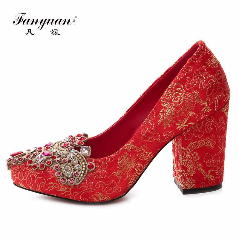 Fanyuan thiết kế Sang Trọng Rhinestone Đảng Giày Phụ Nữ Red Satin Bơm Phụ Nữ Cao Gót Giày Cưới Toe Nhọn Sexy Bơm Giày