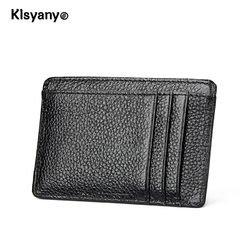 Klsyanyo Cow Leather RFID Blocking Unisex Vintage Style Business Card Holder ID Credit Cardholder Ladies Porte Carte 2018 pu leather unisex business card holder wallet bank credit card case id holders women cardholder porte carte card case