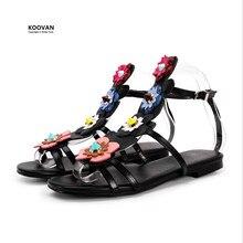 Koovan Femmes Sandales 2017 Nouvelles Sandales En Cuir Véritable Appartements Rugueux Rivet Fleurs Plat Avec Bout Ouvert Sangles Dames Chaussures D'été Rome