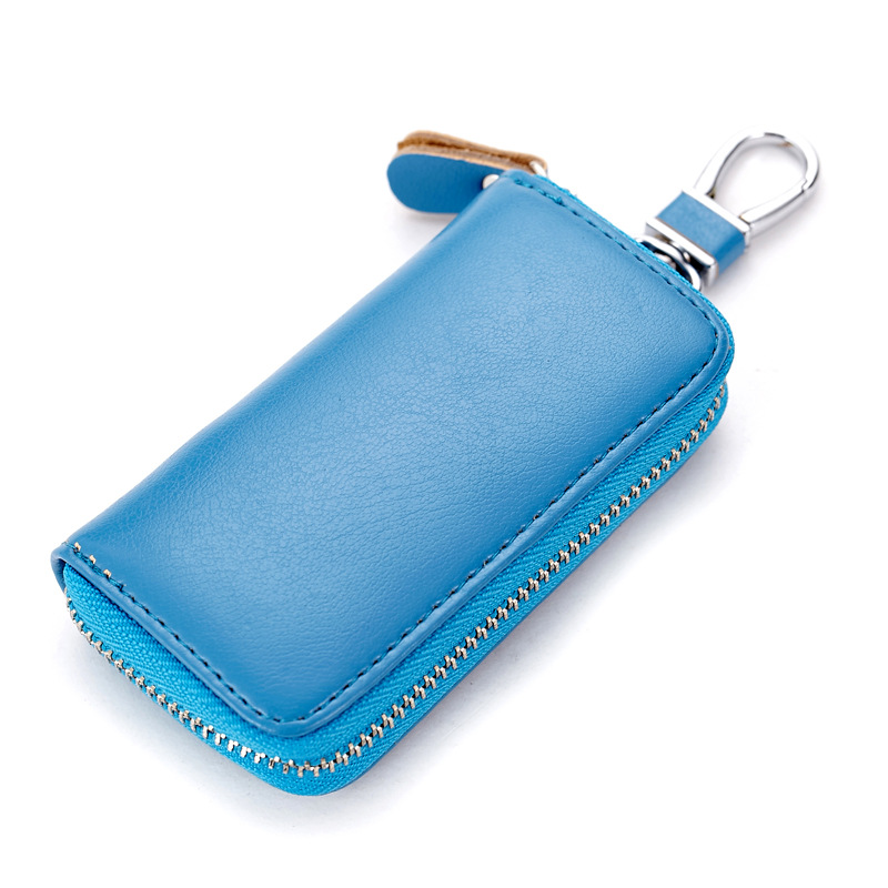 Key Holder Organizer Buckle Genuine Leather Zipper Car Key Wallet Remote Control Business Entrance Guard Card Waist Hanging in Key Wallets from Luggage Bags