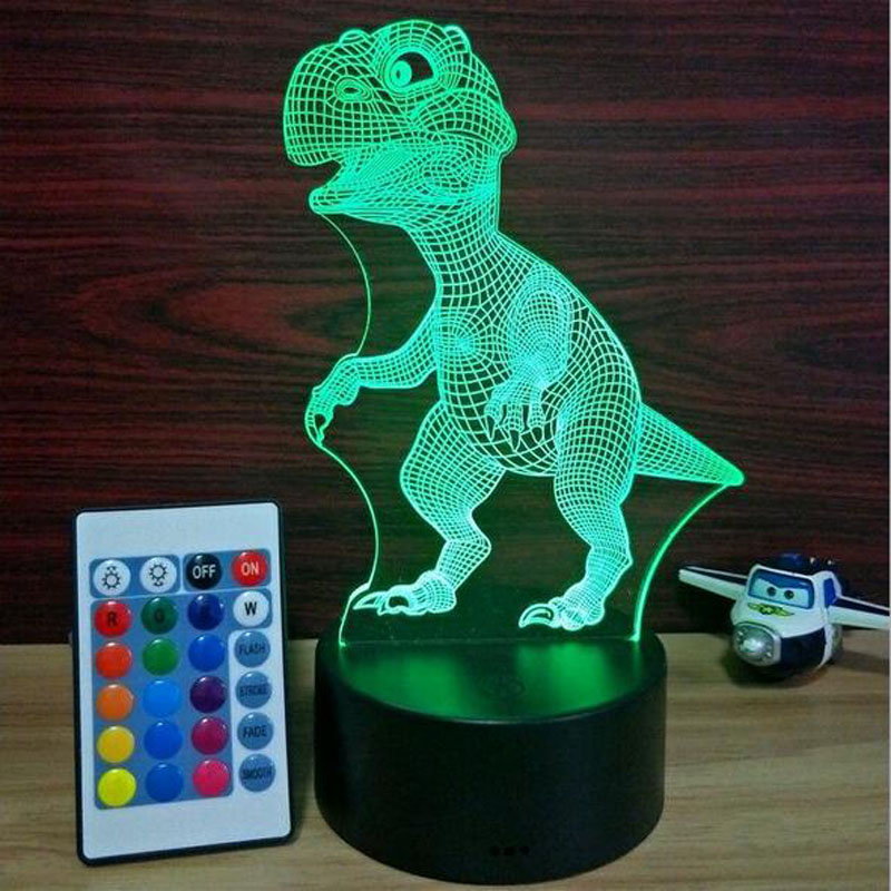 LED Light dinosaur 3d Lamp 7 Color Change Remote Switch Small Night Light Colored Lights Atmosphere Lamp Bedroom Light For Gift