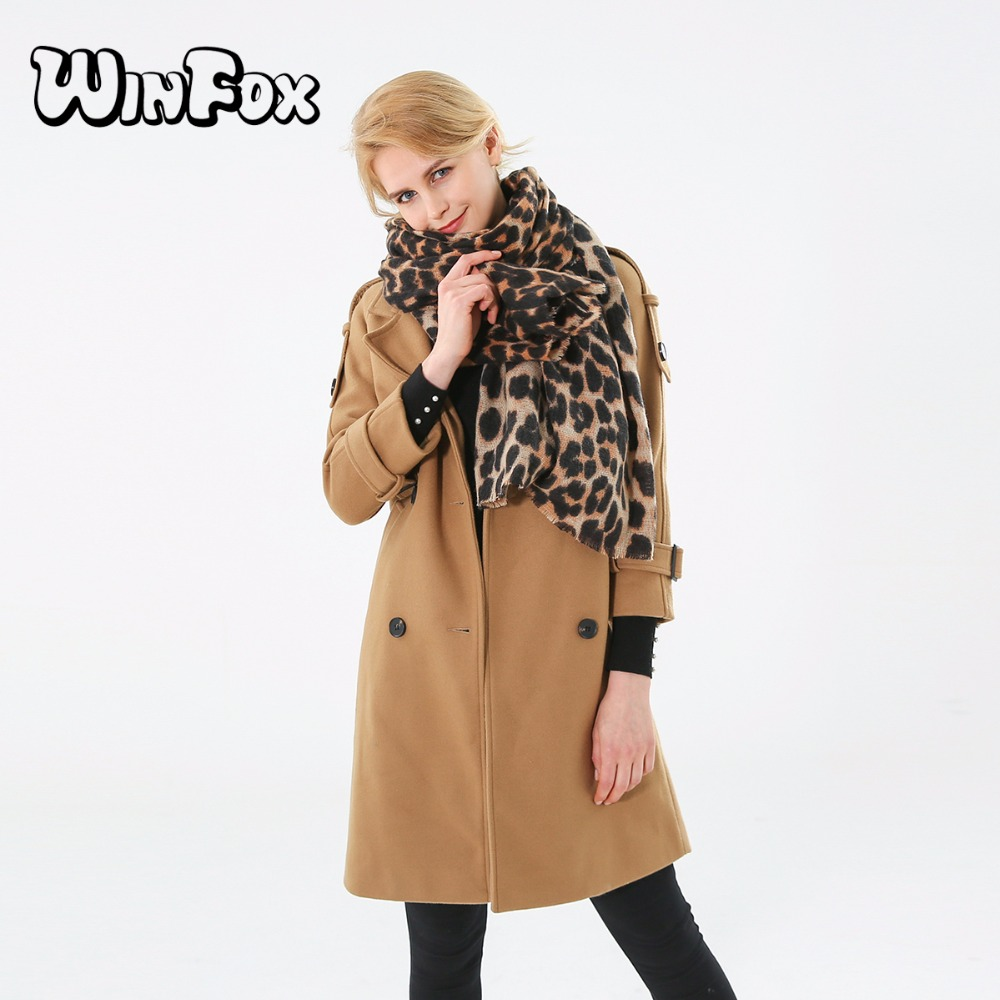 Winfox 2018 New Luxry Brand Winter Brown Leopard Cashmere Scarf Blanket Shawl Wraps For Womens Ladies
