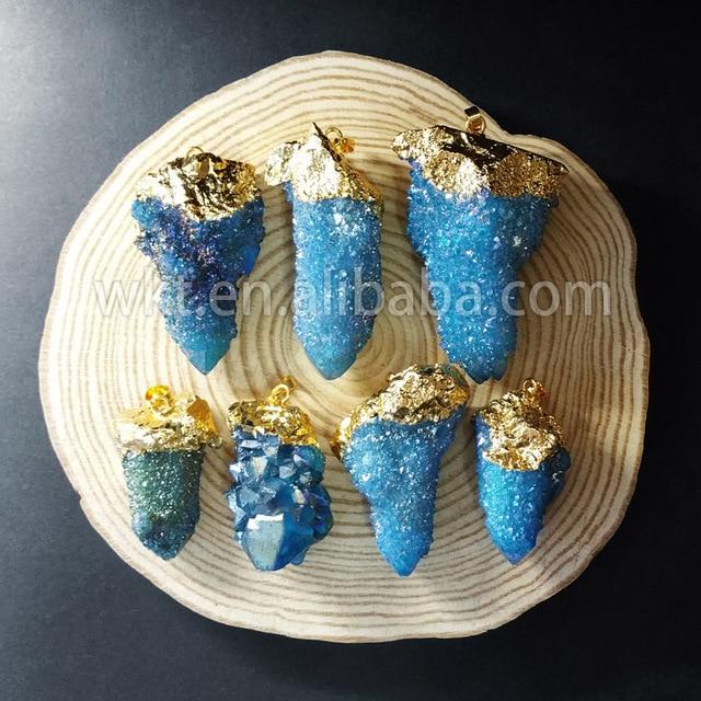 af3ea687d053 Wt-p757 azul encanto aura aura cuarzo colgante al por mayor de piedra de  cuarzo