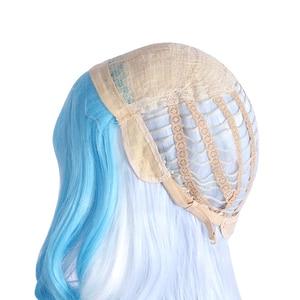 Image 5 - L e mail perücke Spiel LOL SSG Xayah Cosplay Perücken Weiß Mix Blau Lange mit Ohren Halloween Cosplay Perücke Wärme beständig Synthetische Haar