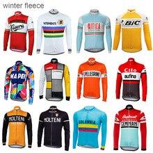 겨울 양털 사이클링 저지 남자 긴 소매 자전거 착용 열풍 방지 사이클링 의류 ropa Ciclismo warm Jacket