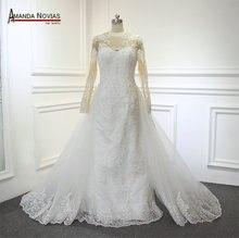 Echt Fotos Spitze Meerjungfrau 2 in 1 Amanda Novias Hochzeit Kleid vestidos de novia 2019
