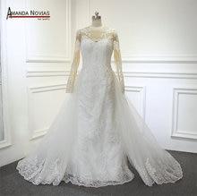 Gerçek Fotoğraflar Dantel Mermaid 2 in 1 Amanda Novias düğün elbisesi vestidos de novia 2019