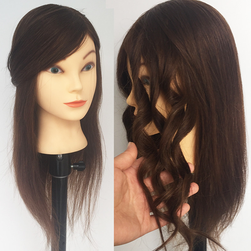 Free Shipping 100% Real Hair Mannequin Head with human hair Mannequin Head For Hairdresser Hairdressing Dolls Head Training Head