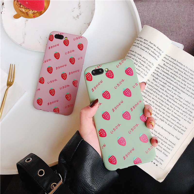 Cute Green Pink Strawberry Case For iPhone X XS XS Max XR 6 6S 7 8 Plus Soft TPU Protector Phone Back Cover For iPhone 8Plus in Fitted Cases from Cellphones Telecommunications