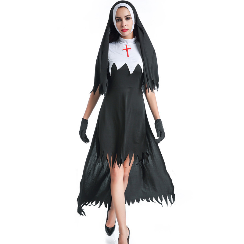 Womens Dreadful Nun Costume Adult The Scarist Ghoulish Witch Uniform Halloween Party Cosplay Vampire Witch Fancy Dresses