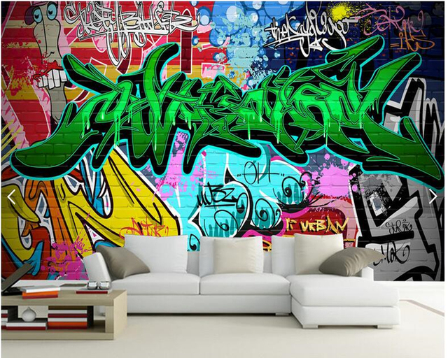 Custom Graffiti Wallpaper Colorful Graffiti Mural For Bar Ktv Hotel
