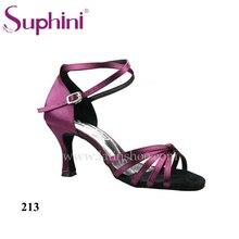 Free Shipping 2015 Suphini Purple Latin Shoes Satin Salsa Shoe Woman Dance Shoes zapatos de baile