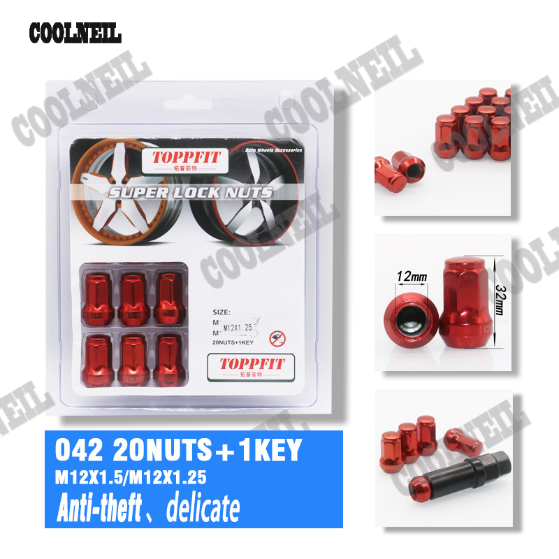 16 PC RED STEEL LOCKING HEPTAGON SECURITY LUG NUTS FOR WHEELS//RIMS 12X1.25 A