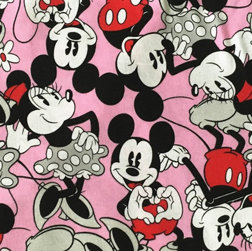 100160cm Mickey Minnie Mouse Knitted Fabric For Sewing Diy