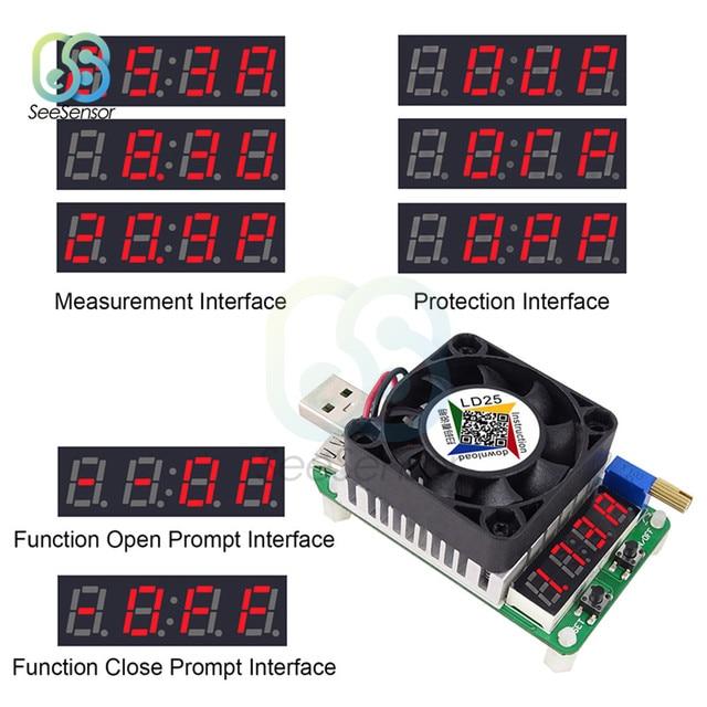 LD25 LD35 USB résistance de charge électronique Led ampèremètre numérique voltmètre décharge batterie Test réglable courant tension mètre 25W