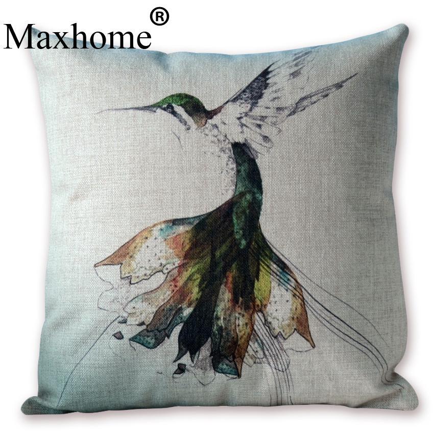 Watercolor Pillowcase Flying Bird Cotton Linen Cushion Home Decor Decorative Pillow Sofa Throw Pillows Luxury Sofa Cusions 45*45