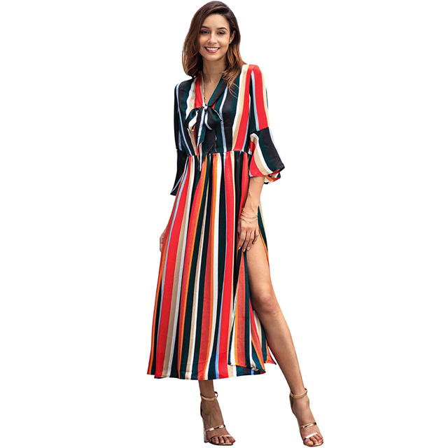 967220001d2 Korean Fashion Striped Dress Women Maxi Party Dress Multicolor Rainbow High  Split Bow Tie V Neck 3 4 Flared Sleeve Long Dresses