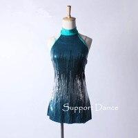 Обувь для девочек Для женщин Mock Turtleneck Костюмы для латиноамериканских танцев платье для детей и взрослых Блёстки современный джаз танец кос...