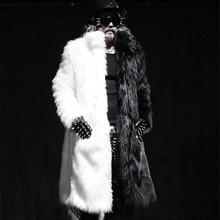 Men Real Fur Coat Winter Faux Fur Outwear On Both Sides Coat Men Punk Parka Jackets