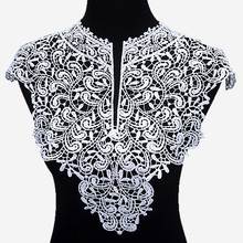 Beautiful 1pc Black & Off White Embroidery Big Flowers Lace Neckline Fabric, DIY Collar Lace Fabrics for Sewing Supplies Crafts