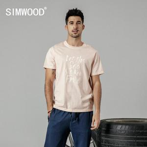 Image 1 - SIMWOOD 2020 summer new fashion letter print t shirt men vintgae 100% cotton tshirt Breathable top high quality t shirt 190223