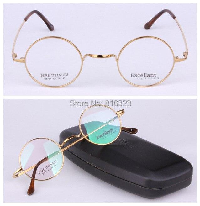 De luxe Titane 44mm Vintage Ronde Monture de lunettes Homme Femmes Lunettes de Verre