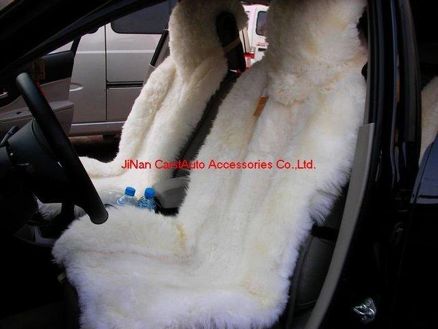 Free Shipping 1Set 100% Sheepskin Car Seat Cover Genuine Sheepskin CA1031 White