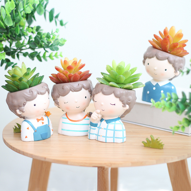 Curly Boy Planter Set - 4pcs European Style Succulent Plants Planter Pot Mini Bonsai Cactus Flower Pot Home Decorative Craft