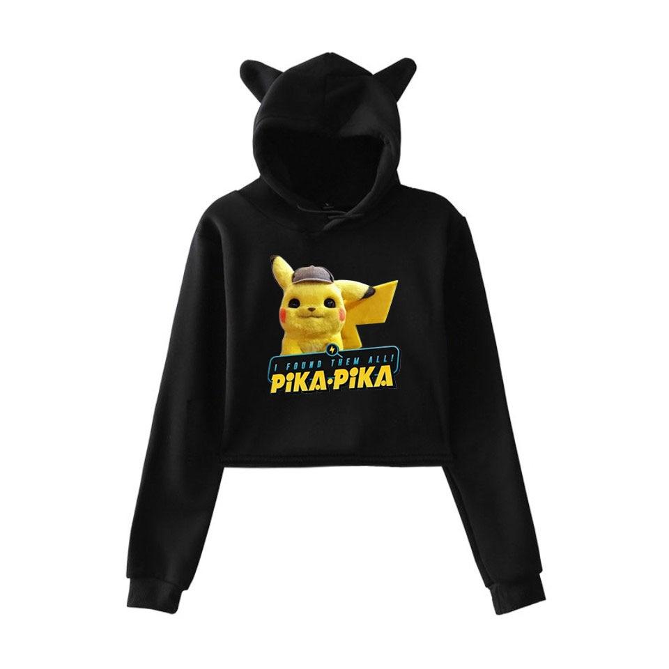 2019 Anime movie Pokemon Detective Pikachu 2D print fashion trend sala Cat Crop Top Women Hoodies Sweatshirt Sexy hot clothes