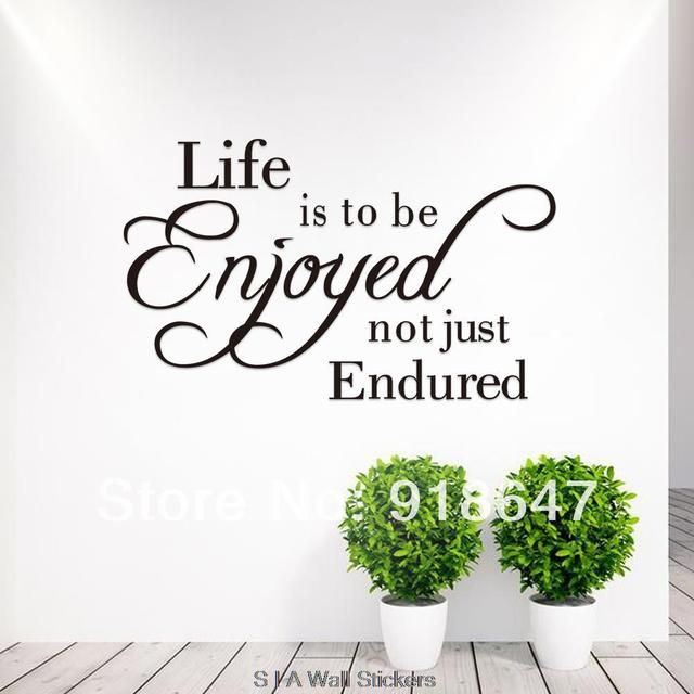 Wholesale New High Quality English Quotes Wall Stickers Life Is To