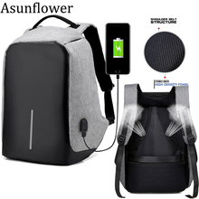 Asunflower Anti Theft Business Laptop Backpack With USB Charging Port 14.1 15.6 17Inch Notebook Computer Large Capacity