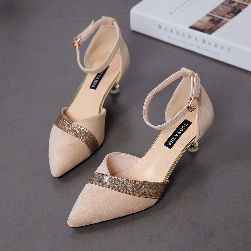 Pointed cat high heels new thin high shallow mouth single shoes fashion Baotou female sandals.