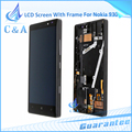 1 piece free shipping black replacement repair part for Nokia Lumia 930 lcd display with touch screen digitizer with frame
