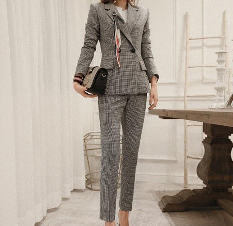 2018 Herbst Neue Mode Frauen Hosen Anzüge Dünne Arbeit Tragen Büro Damen Langarm Gitter Blazer Hosen Set Kostüme Für Frauen