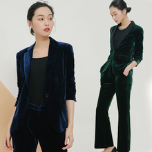 Womens gold velvet casual suit new fashion spring and autumn elegant temperament OL professional pants two-piece