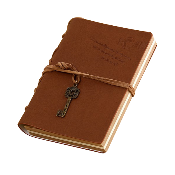 New Vintage Magic and Key Chain Retro PU Leather Travel Diary Notebook Travel Memo Book Coffee african leather memo