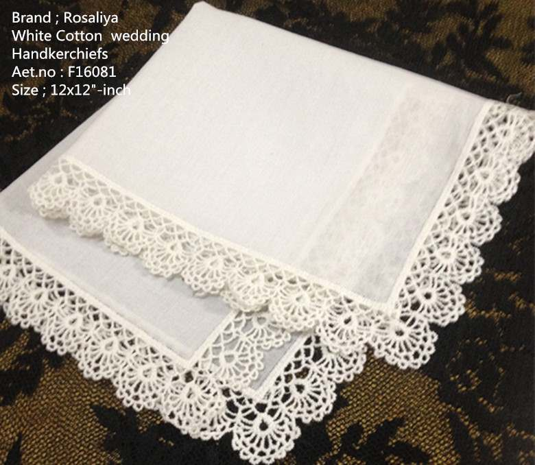 Set Of 12 Fashion Women's Handkerchiefs White Cotton Crochet Lace Wedding Handkerchief  Hankies Hanky For Bridal Gifts 12-inch